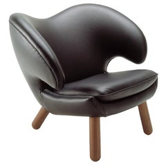 Finn Juhl Pelican Black Leather Chair Pelican-Passion