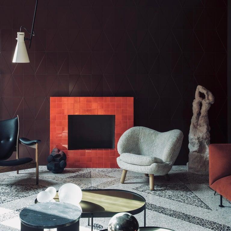 Contemporary Finn Juhl Pelican Chair Skandilock Sheep Moonlight, Oak For Sale