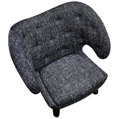 Finn Juhl Pelican Chair Upholstered in Dark Grey Fabric