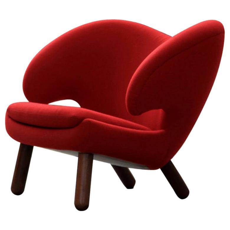 Finn Juhl Pelican Chair Red Fabric Divina and Wood