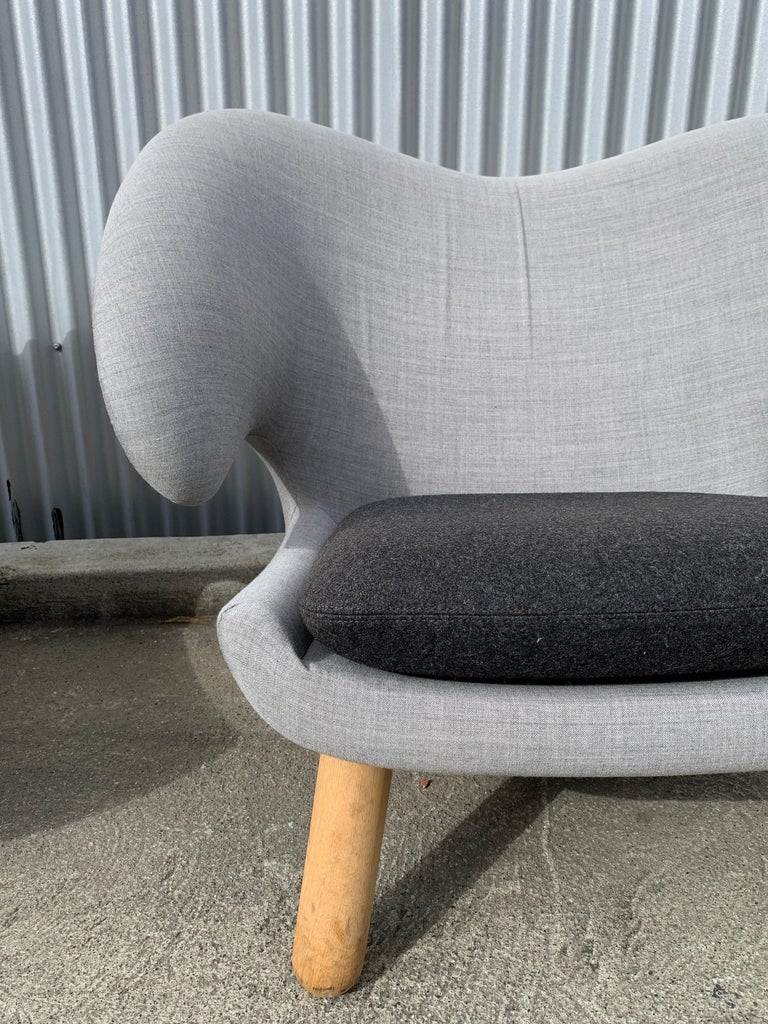 Grey Kvadrat canvas on darker grey Kvadrat Divina Melange Seats. Authotized and authentic production by One Collection, Denmark. Near mint condition likely produced around 2017. Soaped oak legs. Wonderfully comfortable and dramatic presentation.