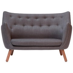 Finn Juhl Poet Sofa Couch Grey Remix, Walnut