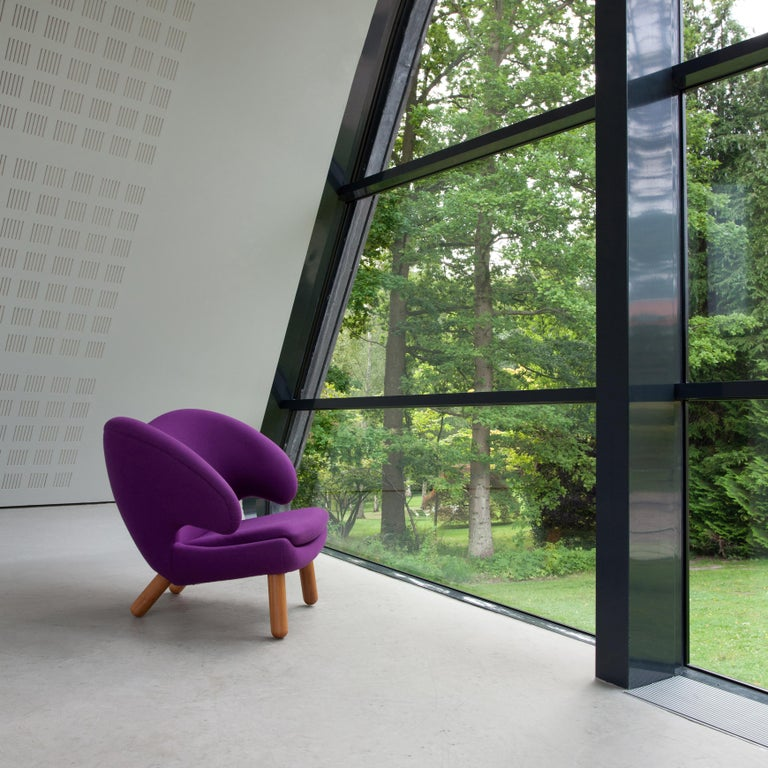 Danish Finn Juhl Purple Pelican Chair Walnut, Purple Fabric Divina  For Sale
