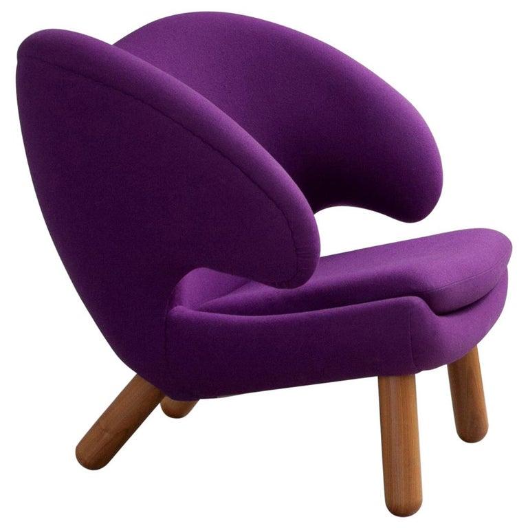 Finn Juhl Purple Pelican Chair Walnut, Purple Fabric Divina  For Sale