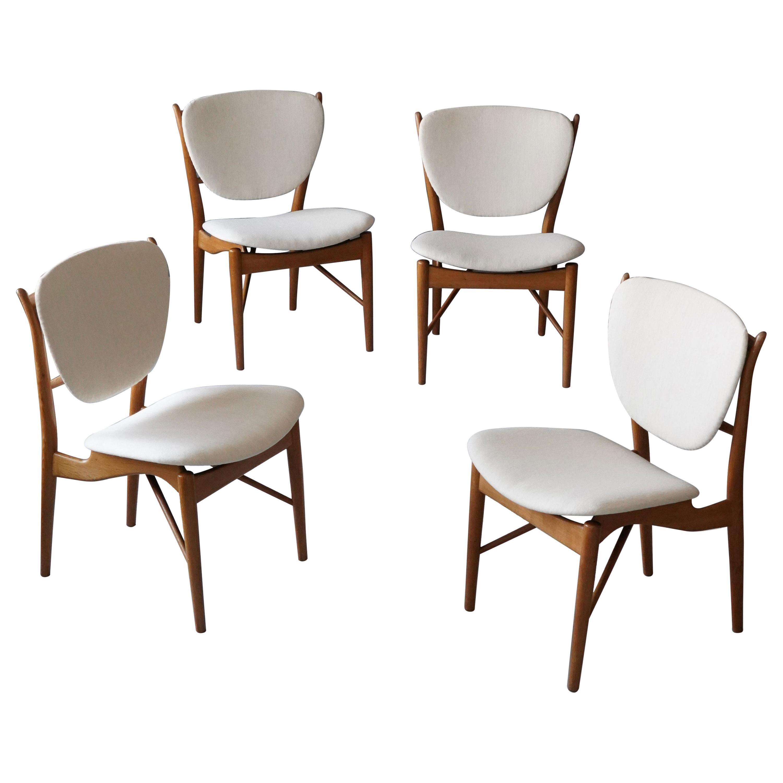Finn Juhl, Rare Dining / Side Chairs, Oak & Fabric, Niels Vodder, Denmark, 1950s