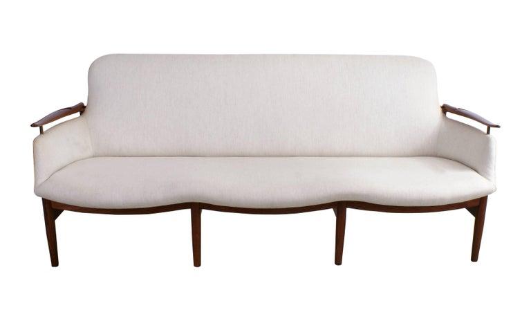 Scandinavian Modern Finn Juhl Rare NV53 Three-Seat Sofa for Niels Vodder For Sale