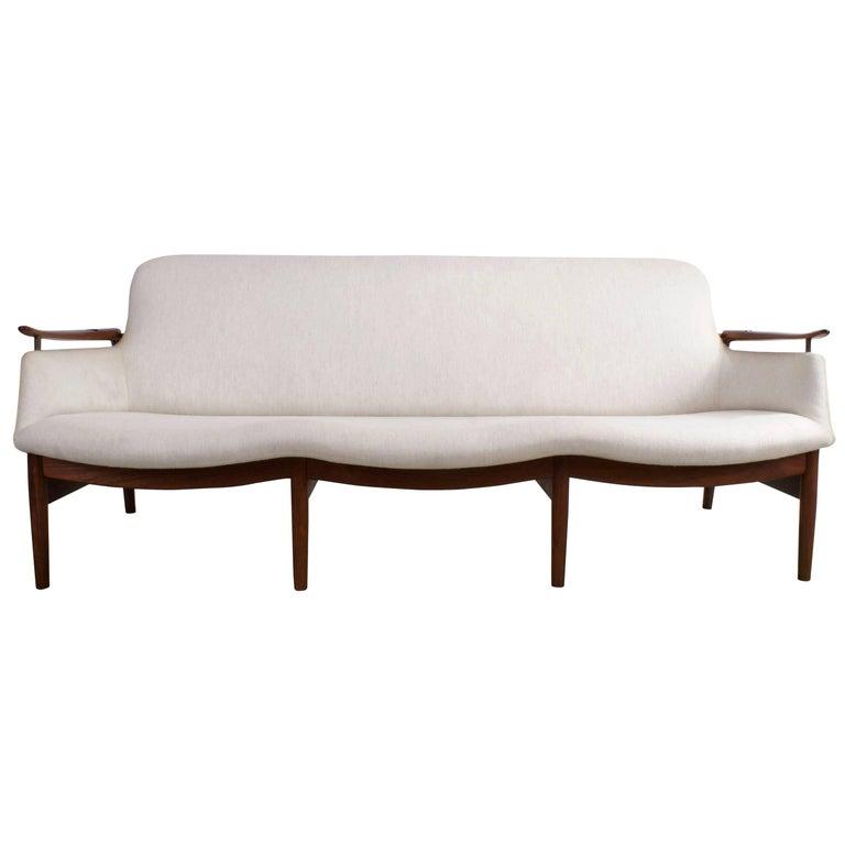 Finn Juhl Rare NV53 Three-Seat Sofa for Niels Vodder For Sale
