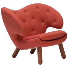 Finn Juhl Red Pelican Chair Upholstered in Red Kvadrat Remix Fabric
