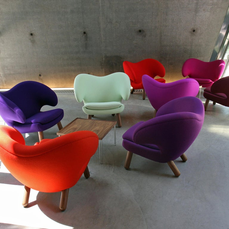 Modern Finn Juhl Red Pelican Chair Walnut, Red Fabric Divina For Sale