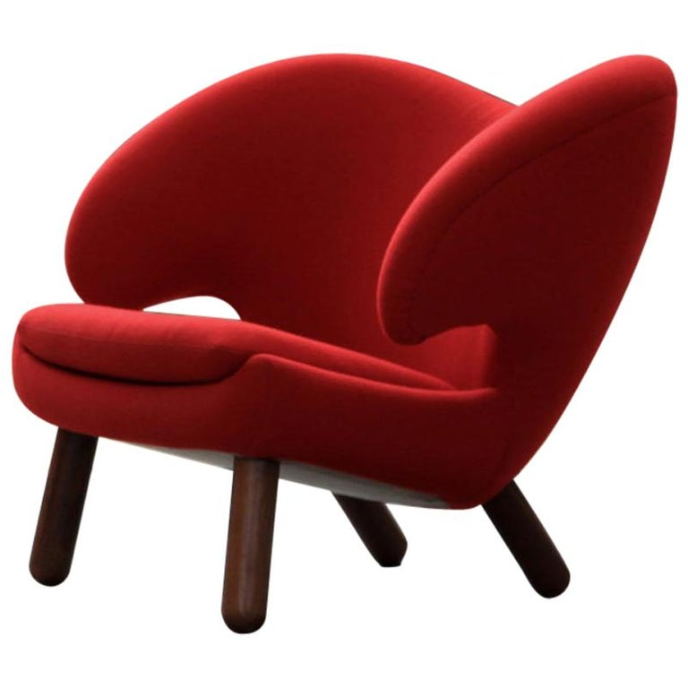 Finn Juhl Red Pelican Chair Walnut, Red Fabric Divina For Sale