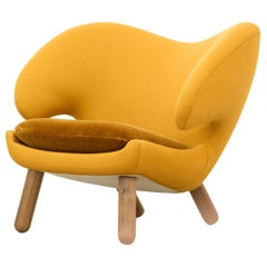Finn Juhl Yellow Pelican Chair Kvadrat Vidar Body, Kvadrat Haakon, Walnut