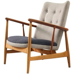 Finn Juhl Reupholstered 'SW86' Easy Chair in Oak and Teak