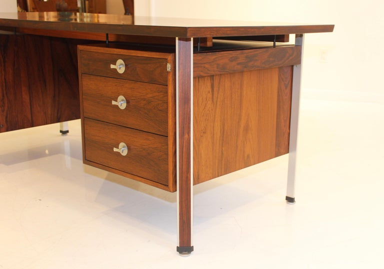 Chrome Finn Juhl Rosewood Executive Desk For Sale