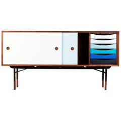Finn Juhl Sideboard in Wood and Cold Colors whit Unit Tray