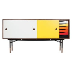 Finn Juhl Sideboard in Wood and Warm Colors with a Tray Unit