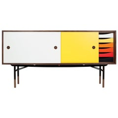 Finn Juhl Sideboard in Wood and Warm Colors with Tray Unit