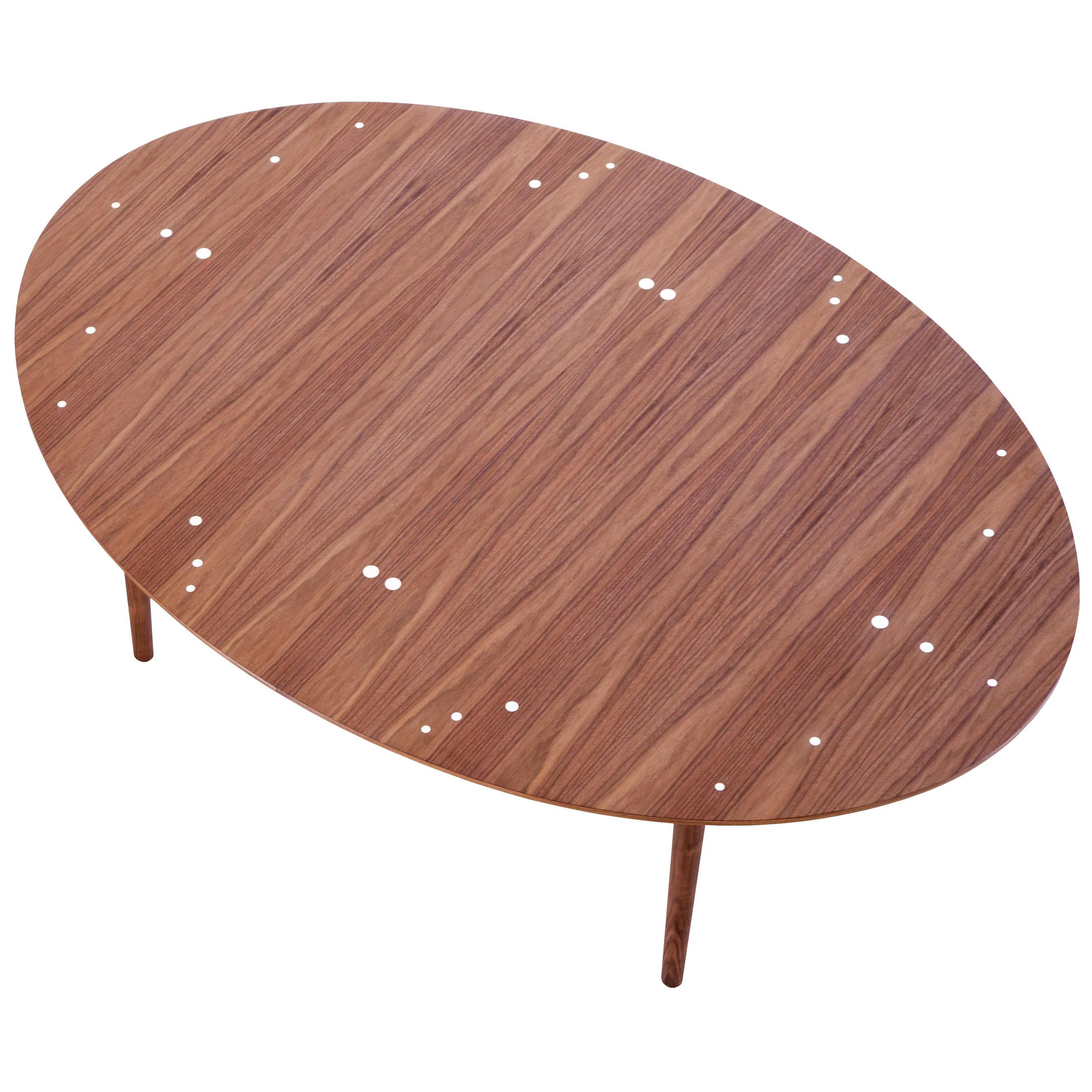 Finn Juhl Silver Table-Walnut, Silver Inlays