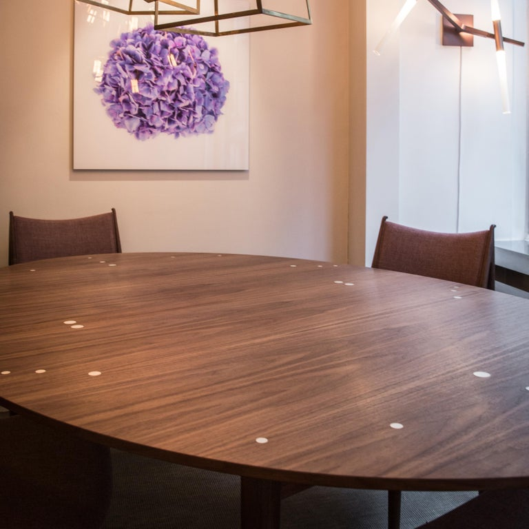 Contemporary Finn Juhl Silver Table Wood and Silver Inlays For Sale