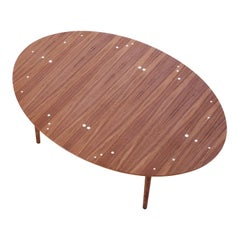 Finn Juhl Silver Table Wood and Silver Inlays