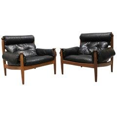 Finn Juhl Style, Midcentury Danish, Black Leather Lounge Chairs