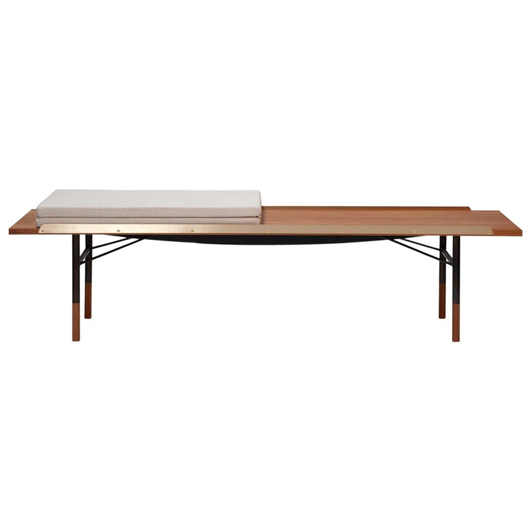 Finn Juhl Table Bench, Medium Size Version, Wood and Brass with Cushion