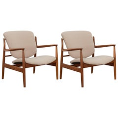 Finn Juhl Teak FD-136 Lounge Chairs