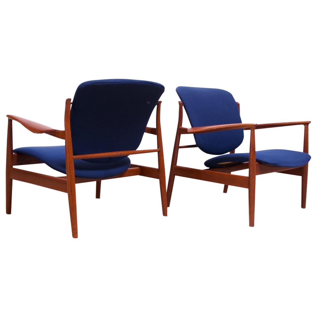 Finn Juhl Teak Lounge Chairs Model FD-136 for France & Daverkosen