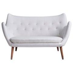 "Finn Juhl ""The Poet"" Two-Seat Sofa with White Wool Upholstery, Denmark, '1950s'"