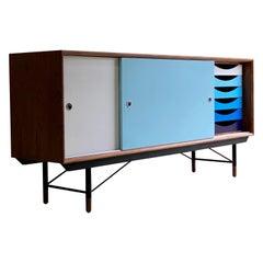 Finn Juhl Walnut and Blue Sideboard Credenza by House of Finn Juhl Denmark
