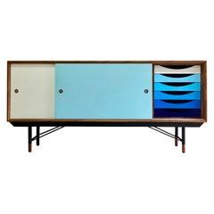 Finn Juhl Walnut & Blue Sideboard Credenza by House of Finn Juhl, Denmark