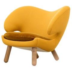Finn Juhl Yellow Pelican Chair Kvadrat Vidar Body, Kvadrat Haakon, Walnut
