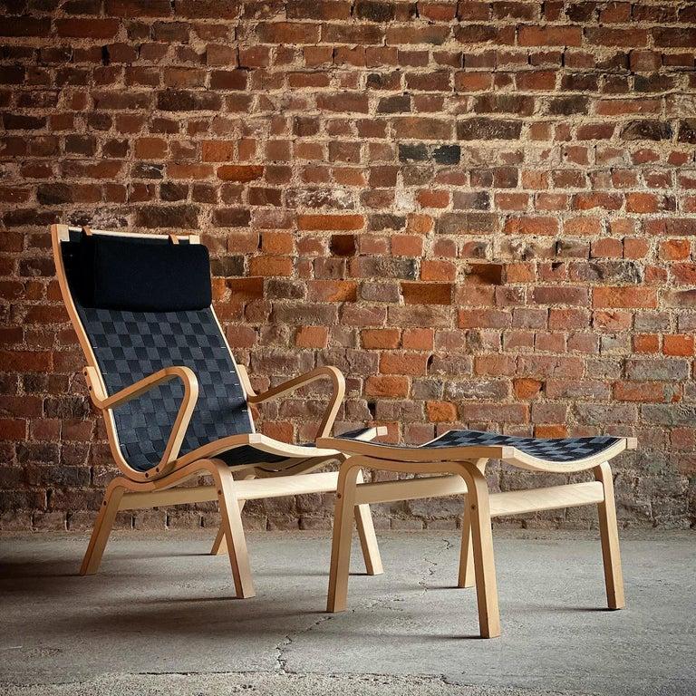Finn Ostergaard Albert chair Model 4100 Danish midcentury  Finn Østergaard 'Albert' Series 4100 armchair and stool by Skipper Mobler designed in Denmark 1978, the high-backed frame made from moulded beech bentwood, upholstered in black woven