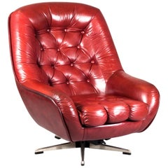 Finnish 1960s-1970s Red 'Wine' Leather Swivel Lounge Chair
