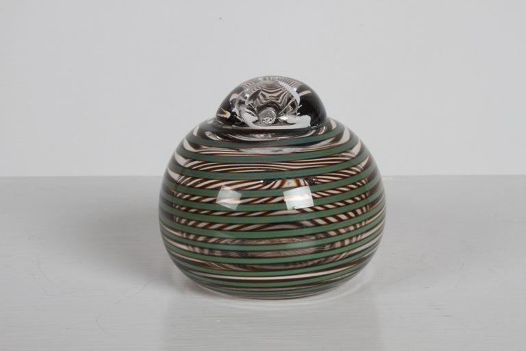 Mid-Century Modern Finnish Artist Oiva Toikka Striped Glass Whippoorwill or Willow Duck by Iittala For Sale