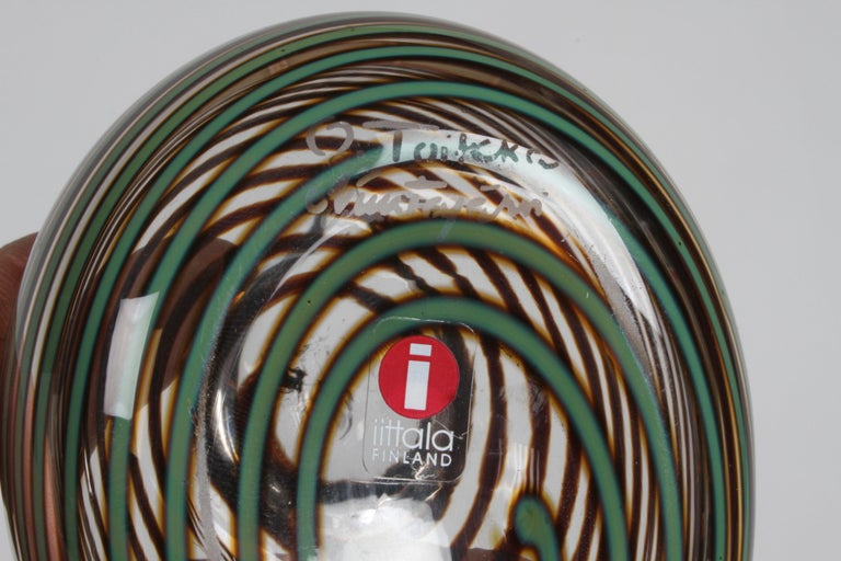 Finnish Artist Oiva Toikka Striped Glass Whippoorwill or Willow Duck by Iittala In Good Condition For Sale In St. Louis, MO