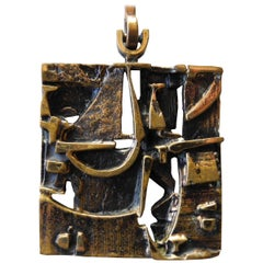 Finnish Cast Bronze Sculptural Modern Pendant and Chain by Jorma Laine, 1960s