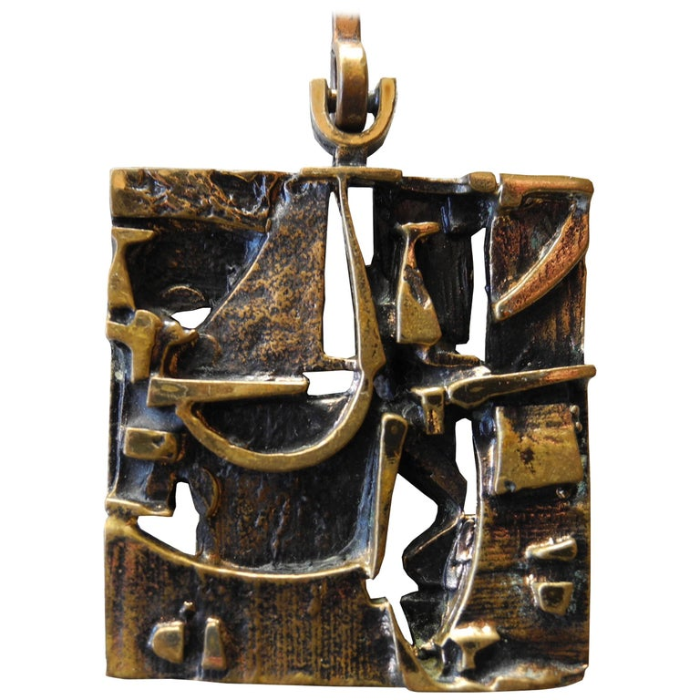 Finnish Cast Bronze Sculptural Modern Pendant and Chain by Jorma Laine, 1960s For Sale