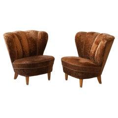 Finnish Designer, Modernist Slipper Chairs, Birch, Fabric, Finland 1940s