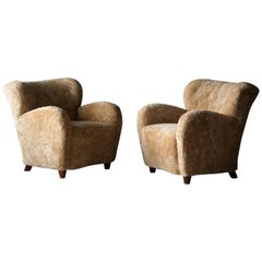 Finnish Designer, Organic Lounge Chairs, Sheepskin, Stained Wood, Finland, 1940s