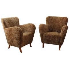 Finnish Designer, Organic Lounge Chairs, Sheepskin, Stained Wood, Finland, 1940s