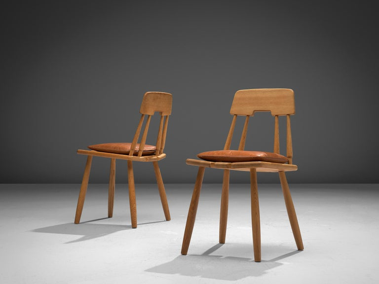 Finnish Dining Chairs in Oak with Leather Cushions For Sale 6