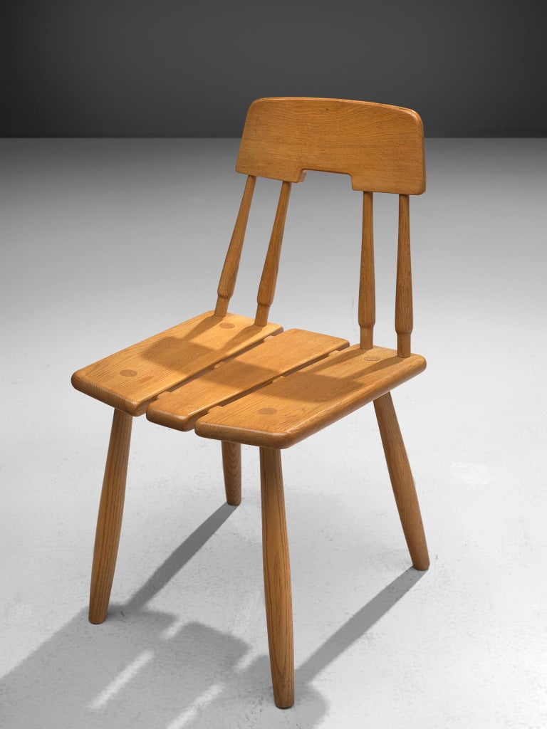 Finnish Dining Chairs in Oak with Leather Cushions In Good Condition For Sale In Waalwijk, NL