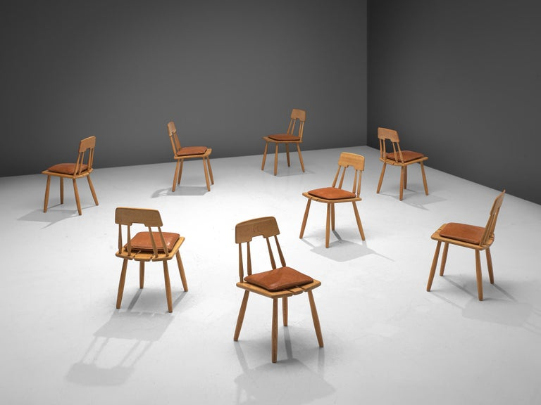 Mid-20th Century Finnish Dining Chairs in Oak with Leather Cushions For Sale