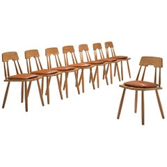 Finnish Dining Chairs in Oak with Leather Cushions