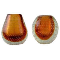 Finnish Glass Artist, Two Vases in Clear and Amber Colored Mouth-Blown Art Glass
