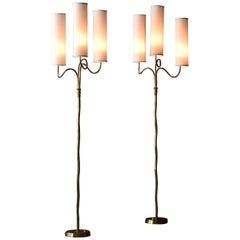 Finnish Modernism, Pair of Organic Floor Lamps, Brass, Fabric, Finland 1950s
