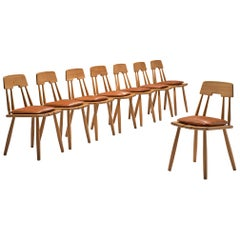 Finnish Set of Eight Oak Dining Chairs with Leather Cushions