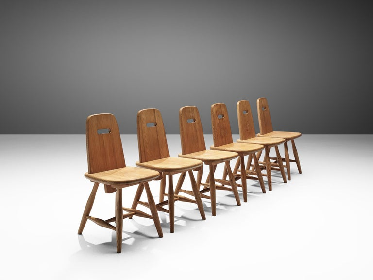 Mid-Century Modern Finnish Set of Six Dining Chairs in Solid Pine by Eero Aarnio For Sale