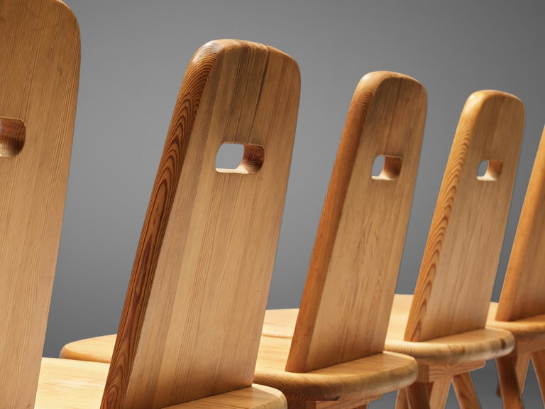 Mid-20th Century Finnish Set of Six Dining Chairs in Solid Pine by Eero Aarnio For Sale