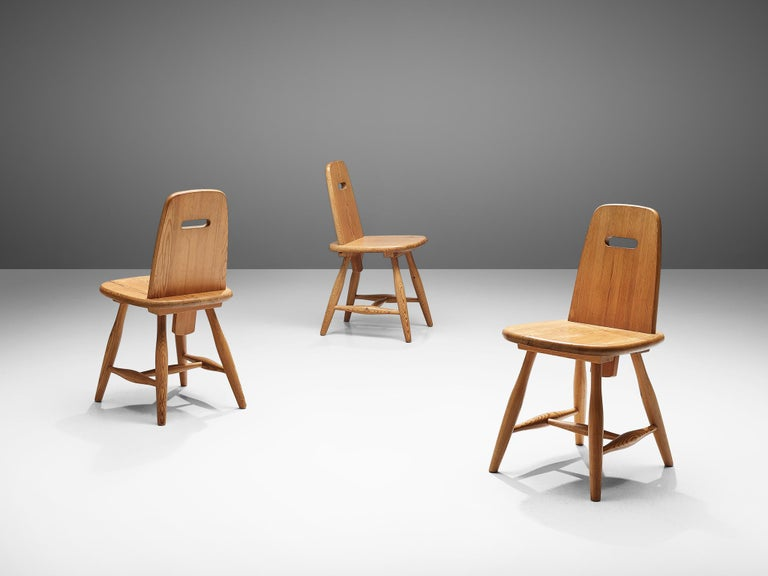 Finnish Set of Six Dining Chairs in Solid Pine by Eero Aarnio For Sale 1